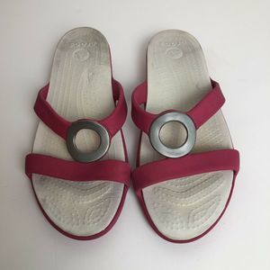 Crocs Pink and White Beach Sandals